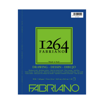 Fabriano 1264 Drawing Wirebound Pad 90lb 9X12 40 Sheets