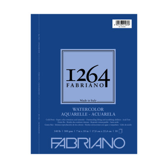 Fabriano 1264 Watercolor Wirebound Pad 140lb Cold Press 7X10 30 Sheets