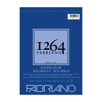 Fabriano 1264 Watercolor Wirebound Pad 140lb Cold Press 9X12 30 Sheets