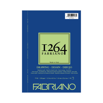 Fabriano 1264 Drawing Wirebound Pad 75lb 5.5X8.5 50 Sheets