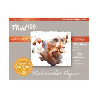 Fluid 100 Watercolor Paper Block 9X12 140lb Cold Press