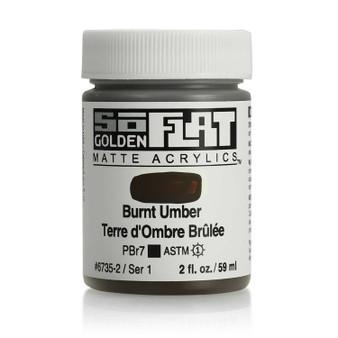 Golden SoFlat Matte Acrylic Paint 2oz Burnt Umber