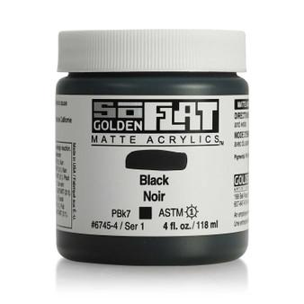 Golden SoFlat Matte Acrylic Paint 4oz Black