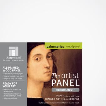 """Ampersand Artist Panels Smooth Primed Cradled 7/8"""" 5X5"""