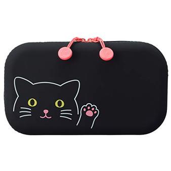 PuniLabo Soft Silicone Zipper Pouch Black Cat