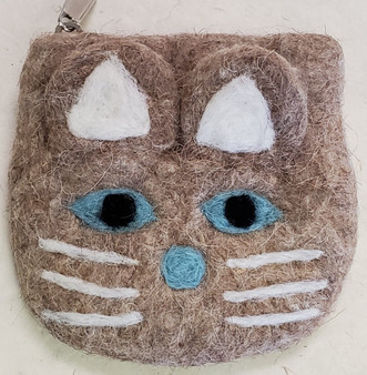 Nepali Felted Pouch Cat Brown