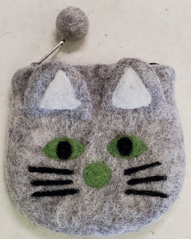 Nepali Felted Pouch Cat Grey