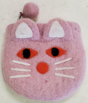 Nepali Felted Pouch Cat Pink