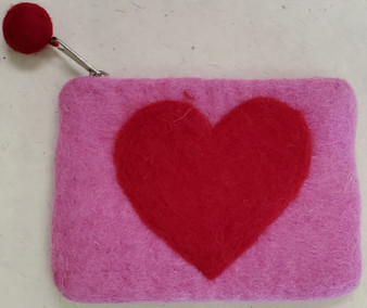 Nepali Felted Pouch Red Heart On Pink