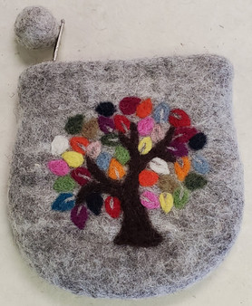 Nepali Felted Pouch Tree On Grey
