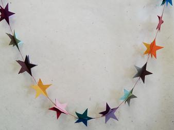 Paper Garland Deep Color Stars