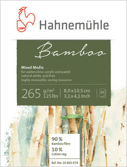 "Hahnemuhle Natural Line Bamboo Mixed Media Block 10 Sheets 8 x10.5cm (3x4"")"