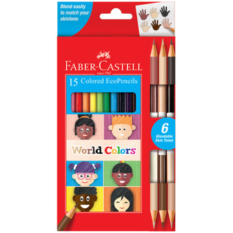 Faber-Castell Premium Art Product World Colors Colored EcoPencils Set of 15