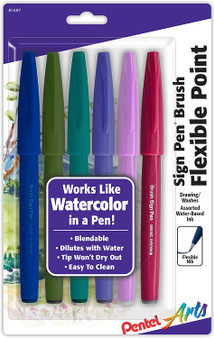 Pentel Arts Sign Pen Brush Tip 6-Pack Muted Colors