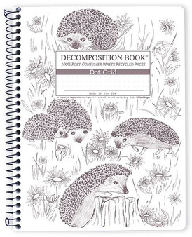 Michael Roger Press Decomposition Spiral Bound Dot Grid Notebook Hedgehog