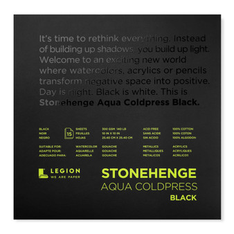 Stonehenge Aqua Black Watercolor Pad 140lb Cold Press 10X10