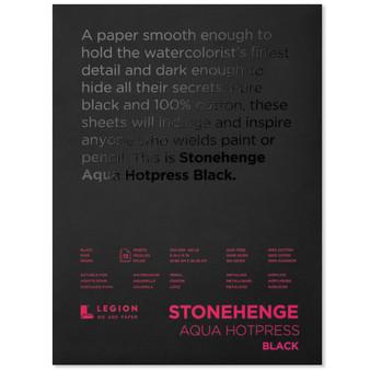 Stonehenge Aqua Black Watercolor Pad 140lb Hot Press 9X12