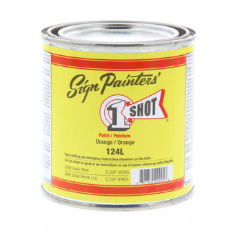 1 Shot Lettering Enamel 1/2 Pint Paint Can Orange