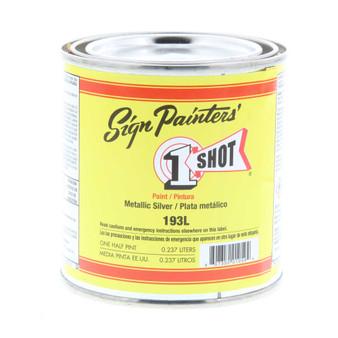 1 Shot Lettering Enamel 1/2 Pint Paint Can Silver