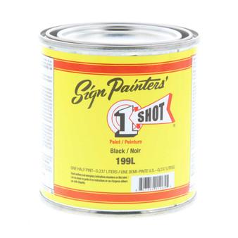 1 Shot Lettering Enamel 1/2 Pint Paint Can Black