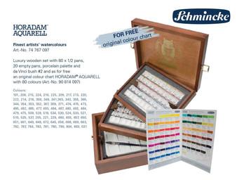 Schmincke Horadam 1/2 Pan Watercolor Luxury Wooden Set of 80 Colors w/ Brush and Palette