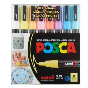POSCA Paint Marker 8-Color PC-3M Fine Soft Colours Set