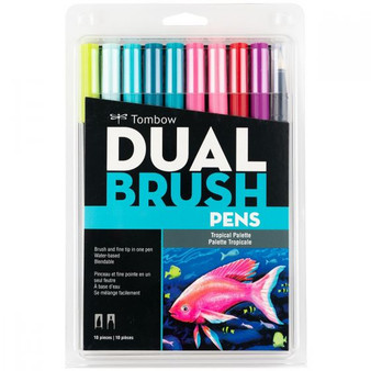 Tombow Dual Brush Marker Set of 10 Tropical