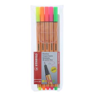 Stabilo Pen 88 Wallet Set of 5 Neon