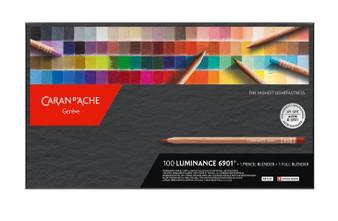 Caran d' Ache Luminance 100 Piece Complete Wood Box Set