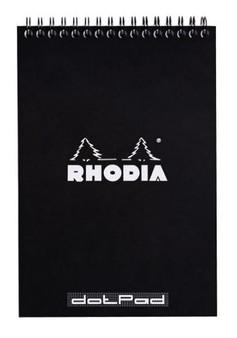 Rhodia Classic Wirebound Notepad 6X8.25 Dot Grid Black