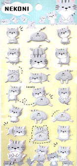 BC Mini Stickers Puffy Grey Cat