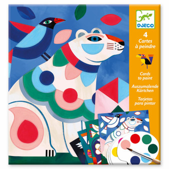 Djeco Fanciful Bestiary Surprise Watercolor Painting Cards Activity Set
