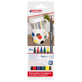 edding 4200 Porcelain Brush Marker Set of 6 Basic Colors