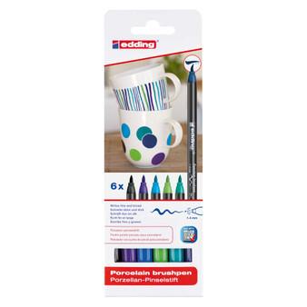 edding 4200 Porcelain Brush Marker Set of 6 Cool Colors
