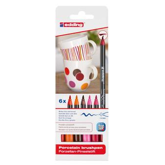 edding 4200 Porcelain Brush Marker Set of 6 Warm Colors