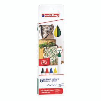 edding 4600 Textile Pen Basic Set of 5