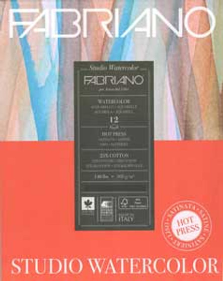 Fabriano Watercolor Studio Pad Hot Press 140lb 12 sheets 11x14