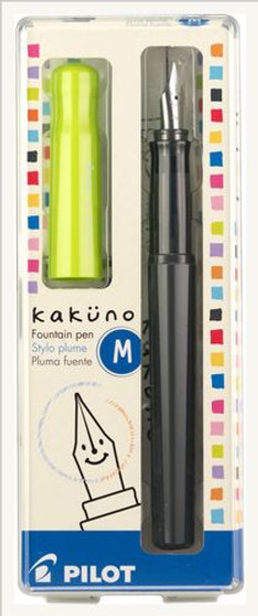 Pilot Kakuno Fountain Pen Medium Black/Lime