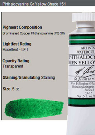 M. Graham Watercolor Series 2: 15ml Phthalo Green Yellow Shade