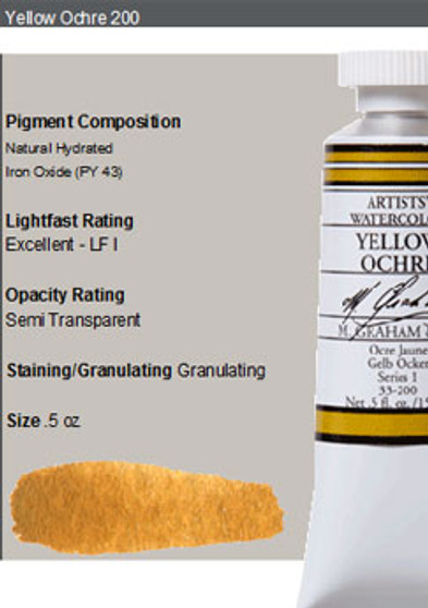 M. Graham Watercolor Series 1: 15ml Yellow Ochre