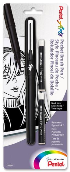 Pentel Pocket Brush Pen W/Two Refills