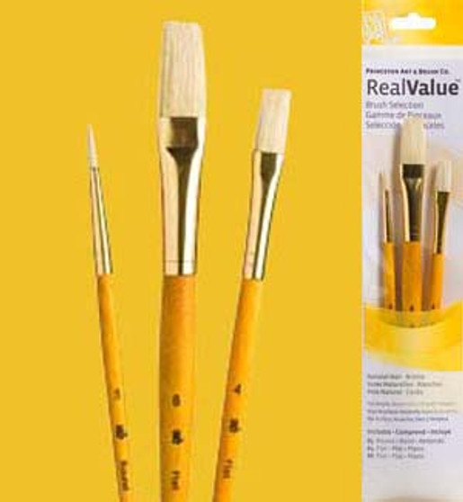 Princeton RealValue Brush Pack Camel Hair/Bristle 3pk