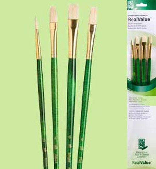 Princeton RealValue Brush Pack Bristle Bright Flat/Filbert 4pk
