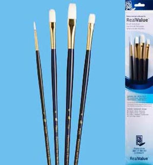Princeton RealValue Brush Pack White Taklon 4pk - 1, 4, 6, & 4