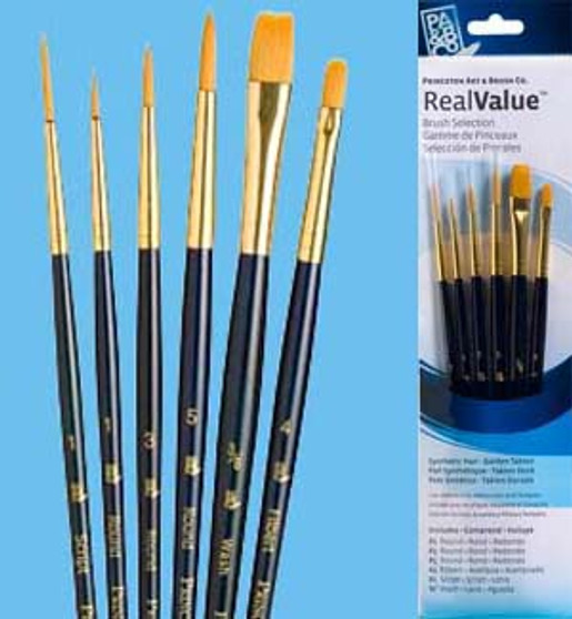 Princeton RealValue Brush Pack Gold Taklon 6pk