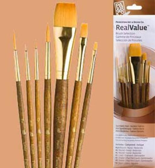 Princeton RealValue Brush Pack Gold Taklon 7pk