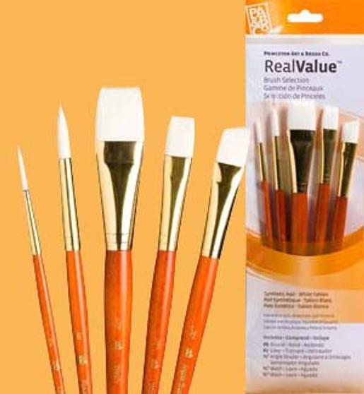 """Princeton RealValue Brush Pack White Taklon 5pk - 2, 8, 3/4"""", 1/2"""", & 1/2"""""""