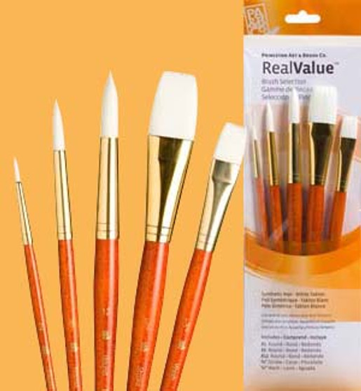 """Princeton RealValue Brush Pack White Taklon 5pk - 2, 8, 12, 3/4"""", & 1/2"""""""