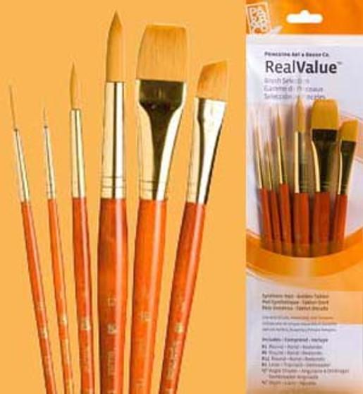 Princeton RealValue Brush Pack Golden Taklon 6pk