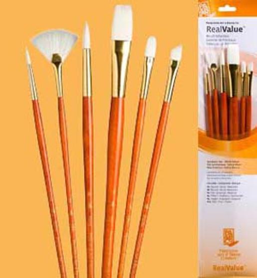 Princeton RealValue Brush Pack White Taklon 6pk
